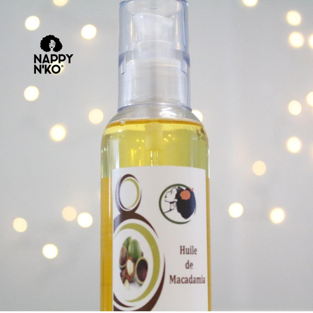 Huile de macadamia Nappy n'ko pour prendre soin des cheveux crépus, frisés, bouclés et ondulés