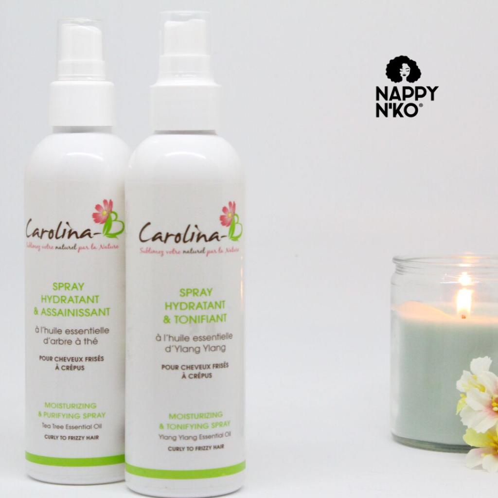 Les deux sprays hydratants de carolina B pour hydrater ses cheveux en hiver