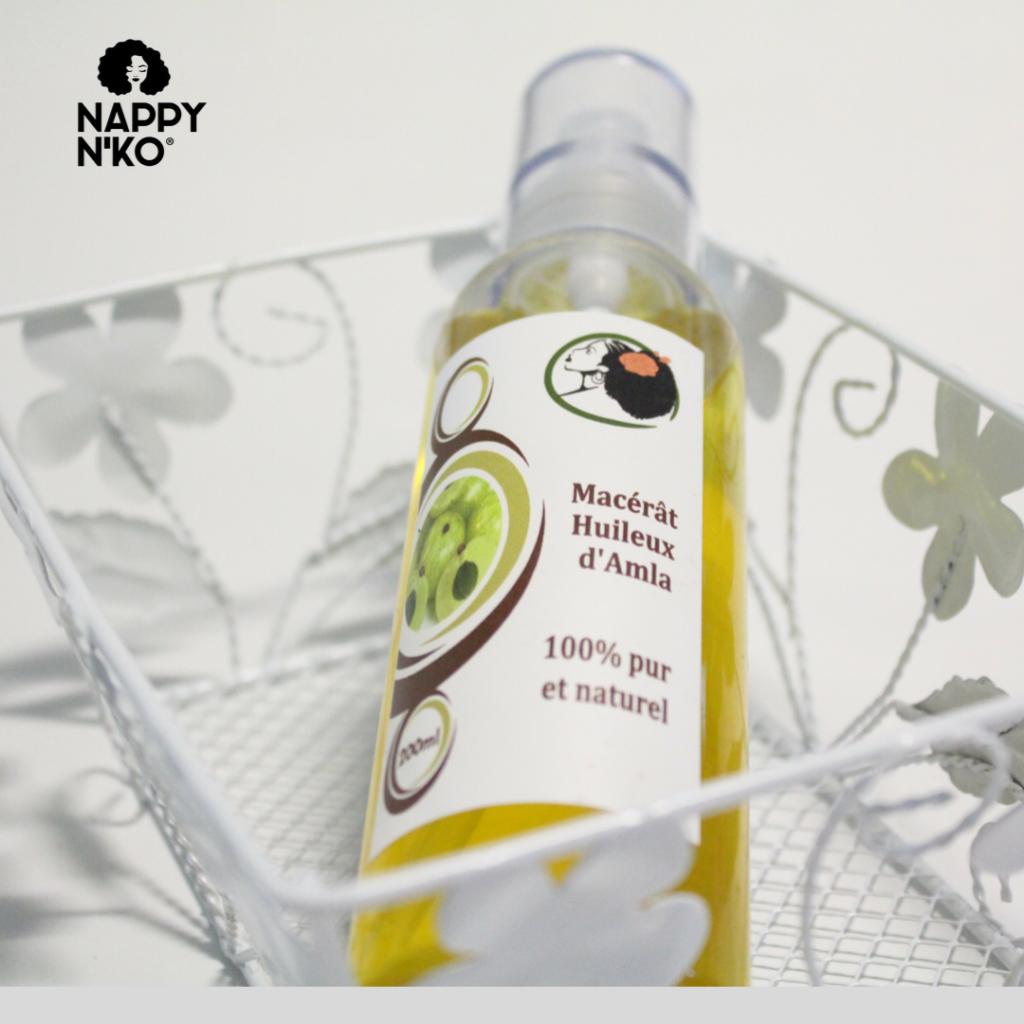 Macérât huileux d'amla 100% naturelle de Nappy N'ko pour prendre soin des cheveux crépus, frisés, ondulés et bouclés et savoir comment fortifier ses cheveux en hiver
