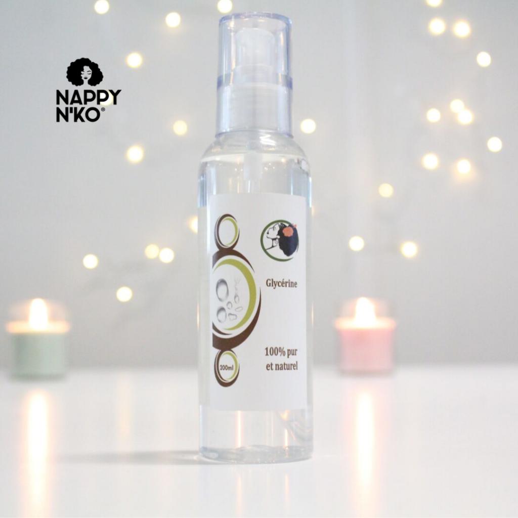 Glycérine végétale Nappy N'ko pour sceller l'hydratation des cheveux crépus, bouclés, frisés, ondulés